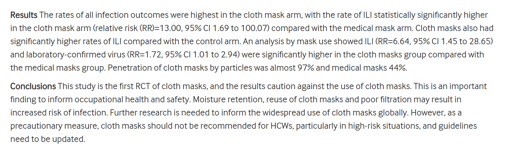 cloth masks hurt